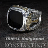 Konstantino Corinthian Helmets Silver and Onyx Mens Ring
