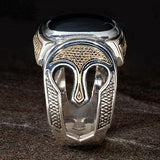 Konstantino Corinthian Helmets Silver and Onyx Mens Ring Side View