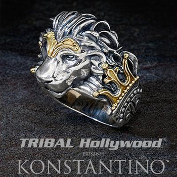 Konstantino Greek Myth Lion Head Ring in Silver and Gold