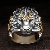 Konstantino Greek Myth Lion Head Ring in Silver and Gold Front View