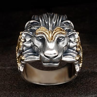 f79979e16 Konstantino Greek Myth Lion Head Ring in Silver and Gold Front View