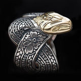 Konstantino 18k Gold Serpent Head Sterling Silver Mens Ring Side View