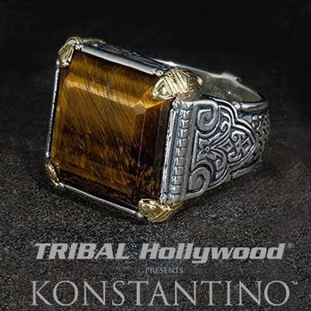Konstantino SPARTAN WARRIOR TIGER EYE Silver 18k Gold Mens Ring
