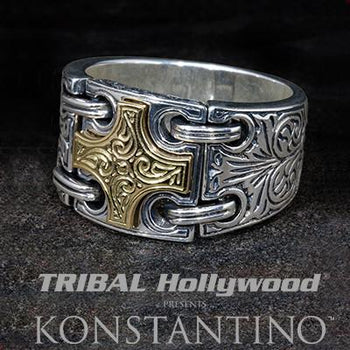 Konstantino Gold Maltese Cross Sterling Silver Mens Ring