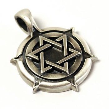 Bico Star of David Cicular Shield Mens Necklace Pendant