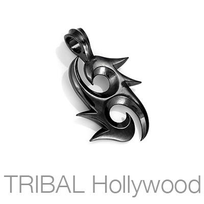 Bico Twin Eagles Black Balanced Heart Mens Necklace Pendant