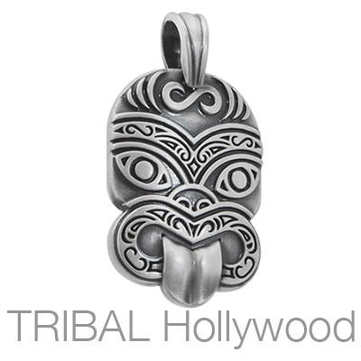 BICO TIKI Tribal Mask Pendant in Silver Front View