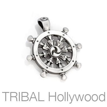 Bico Dharmachakra Buddhist Wheel Mens Necklace Pendant