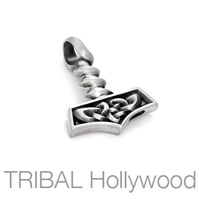 Thors Hammer Celtic Knot Mens Necklace Pendant by Bico