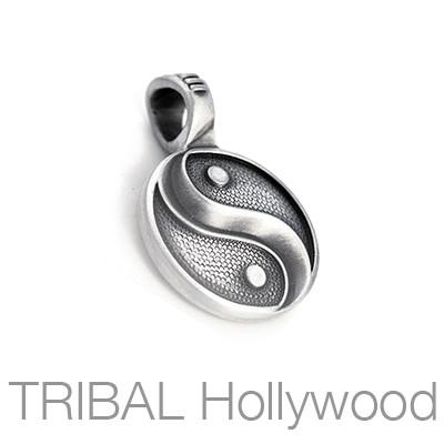 Gray Yin and Yang Tao Symbol Mens Necklace Pendant by Bico