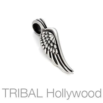 Glide Feathered Bird Wing Mens Necklace Pendant by Bico