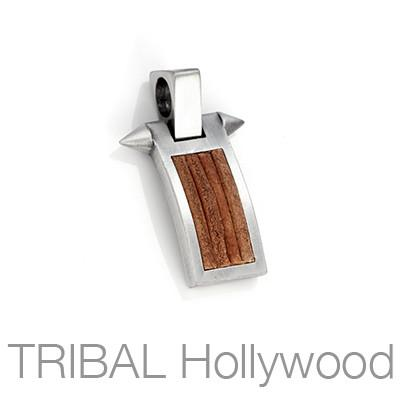 PHALANX BROWN Mens Pendant with Inlaid Brown Leather by Bico