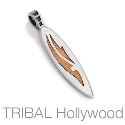 Grajagan Mens Silver Surfboard Necklace Pendant w Rosewood