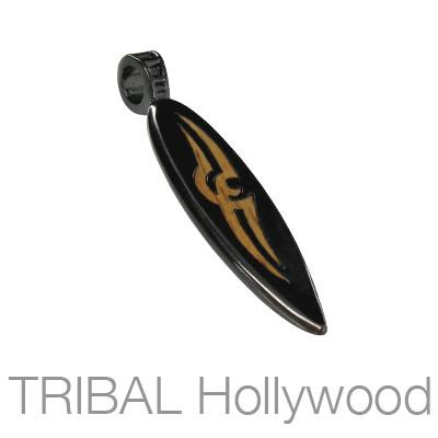 Tribalist Mens Black Surfboard Necklace Pendant w Rosewood