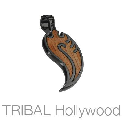Bico Nucleus New Leaf Rosewood Mens Tribal Necklace Pendant