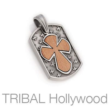 FIDERE Rosewood Cross Dogtag Necklace Pendant by BICO Australia