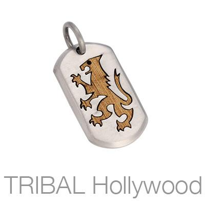 Bico Lionheart Royal Lion Silver and Rosewood Mens Dog Tag