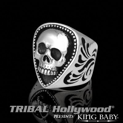 Fender Mens Ring SKULL GUITAR PICK in Sterling Silver by King Baby | Tribal Hollywood