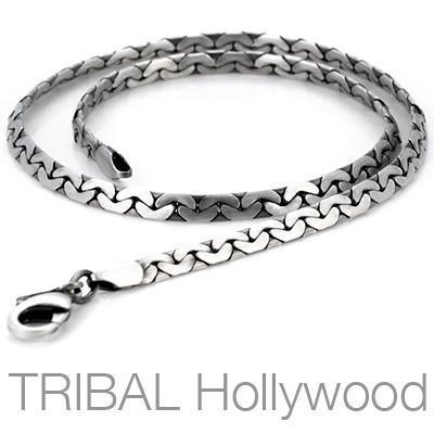 DRAFT Flat Curbed Link Thin Width Silver Mens Chain by BICO Australia | Tribal Hollywood