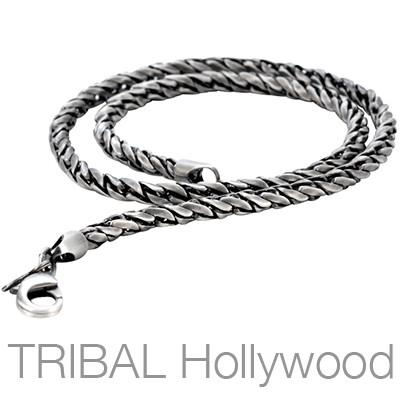 LAX Men's Silver Twisted Metal Chain | Tribal Hollywood