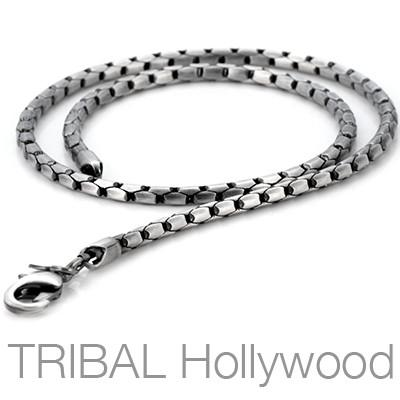 CALIBAR Men's Linked-Bar Silver Box Chain | Tribal Hollywood