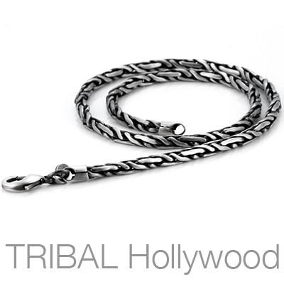 PRIVE Herringbone Silver Mens Chain Necklace | Tribal Hollywood