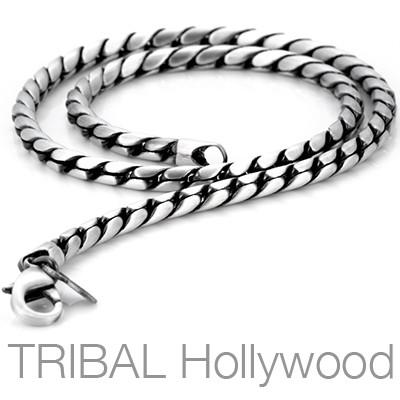 MOON Thin Width Serpentine Twist Necklace Chain by BICO Australia | Tribal Hollywood