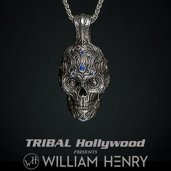 William Henry Large 3D Sugar Skull Sterling Mens Necklace
