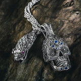 William Henry Large 3D Sugar Skull Sterling Mens Necklace with Sterling Silver Snake Head Necklace
