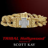 18k Gold Diamond Cross UnKaged Mens Bracelet by Scott Kay Large