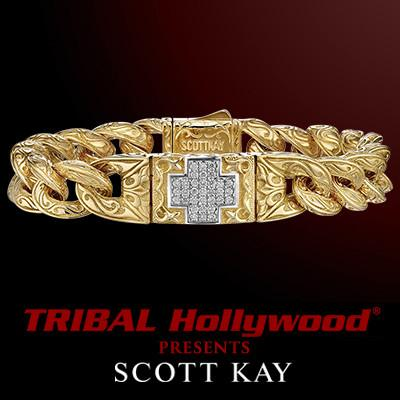 18k Gold Diamond Cross UnKaged Mens Bracelet by Scott Kay Small