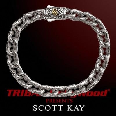 Anchor Link Mens Bracelet Engraved Silver By Scott Kay