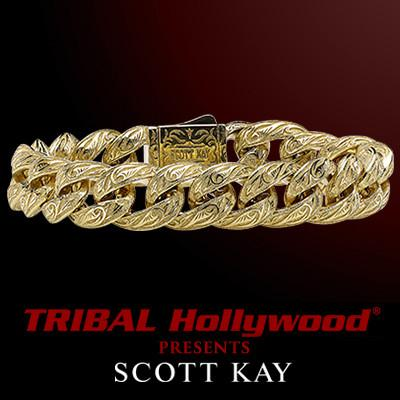 Scott Kay 18k Solid Gold Mens Bracelet with Sparta Engraving