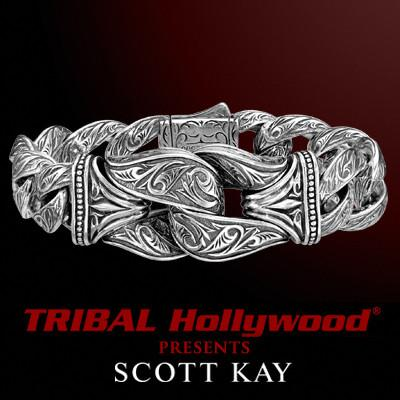 Large Silver Bracelet Sparta Guardian by Scott Kay