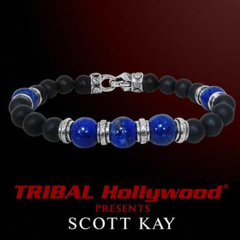 CLUSTER BEAD Blue Lapis and Black Onyx Scott Kay Bead Bracelet for Men