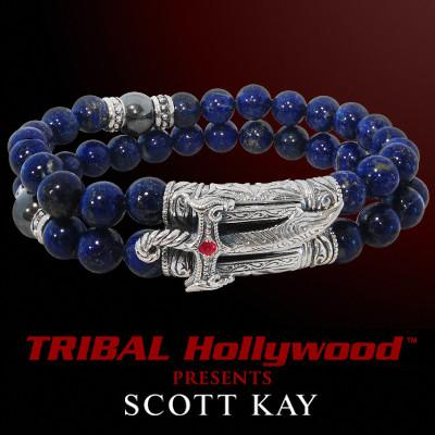 Samurai Sabre Mens Bead Bracelet in Lapis and Hematite
