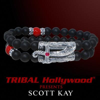 SAMURAI SABRE Scott Kay Black Onyx Red Shell Pearl Mens Bead Bracelet