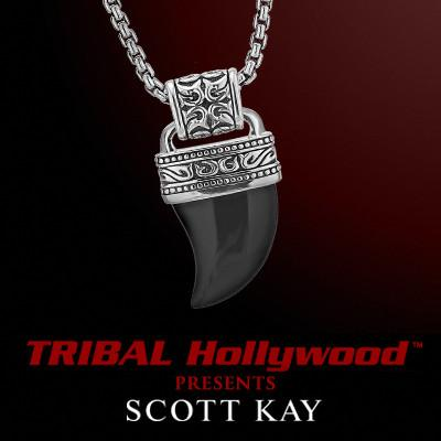 Onyx Horn Mens Necklace in Sterling Silver by Scott Kay