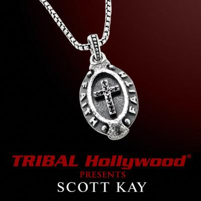 Mens Necklace Faith Cross Oval Pendant by Scott Kay