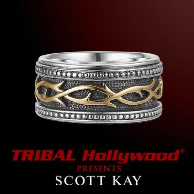 Gold Thorn Ring for Men with Riveted Band by Scott Kay