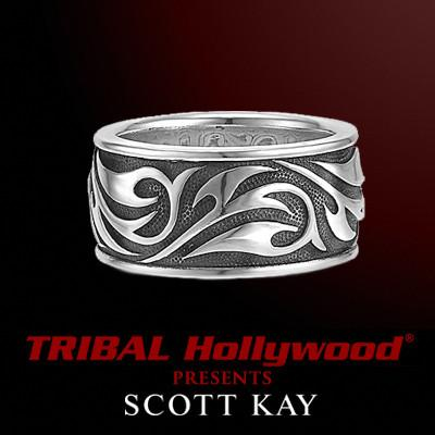 Silver Mens Ring with Engraved Vines by Scott Kay