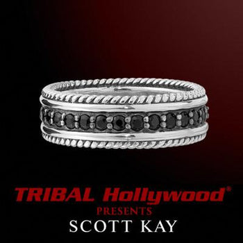 Silver and Black Sapphire Band Mens Ring by Scott Kay