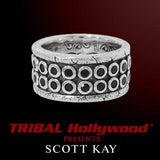 SAPPHIRE RIVETED Sterling Silver Mens Ring by Scott Kay | Tribal Hollywood
