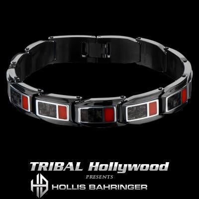 Hollis Bahringer Carbon Fiber Mens Bracelet in Black Steel