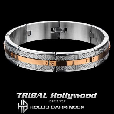 Hollis Bahringer Santa Fe Mens Bracelet with Rose Gold Steel