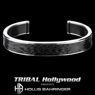 Hollis Bahringer Spade Mens Cuff Bracelet in Black Steel