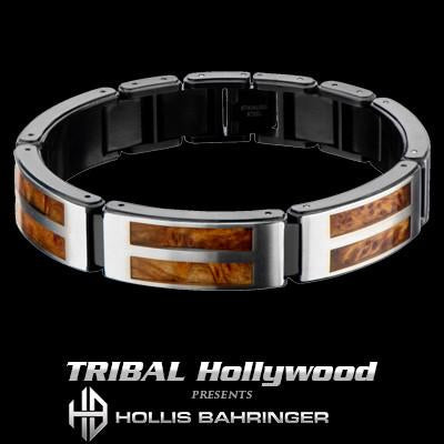Hollis Bahringer Palisander Rosewood and Steel Mens Bracelet