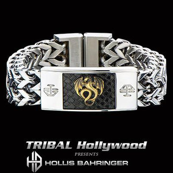 Hollis Bahringer Kingdom Dragon Mens Steel Bracelet