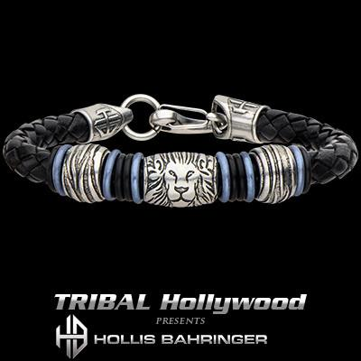 Hollis Bahringer Corium Lion Black Leather Steel Bracelet