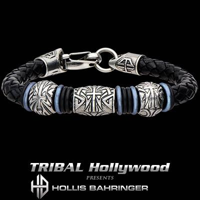 Hollis Bahringer Corium Knights Cross Mens Leather Bracelet